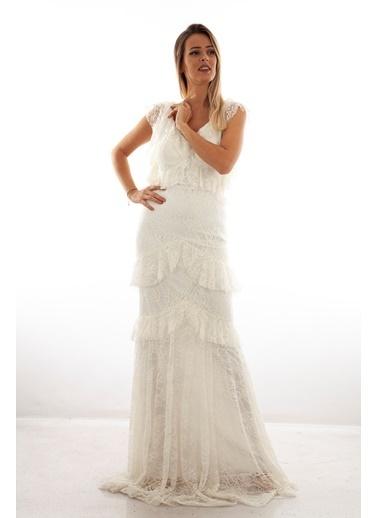Belamore  Ekru V Yaka Fırfır Detaylı Simli Dantelli Abiye & Mezuniyet Elbisesi 1607762-10.147 Ekru